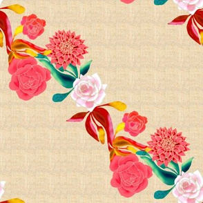 Old Fashioned Roses and Dahlias Diagonal Stripe
