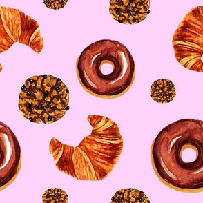 Fresh pastry pattern. Pink background