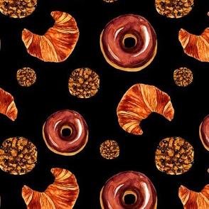 Fresh pastry pattern. Black background