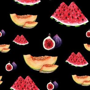 Summer fruits. Black background