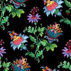 Whimsical flowers. Black background