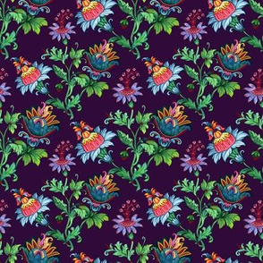 Whimsical flowers. Violet background