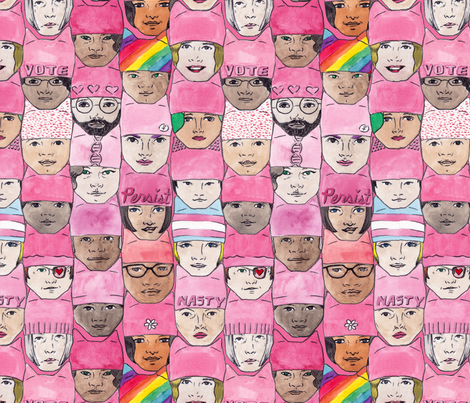 Women's March Faces fabric by krista_suh on Spoonflower - custom fabric