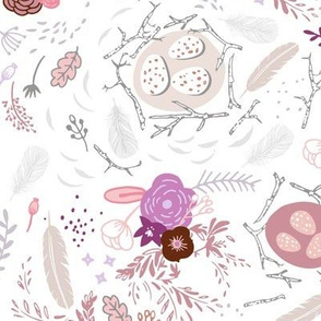 Flowers + Feathers (mauve) MED