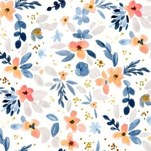 Fawn Floral blue peach white