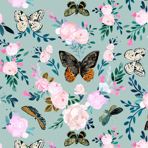 Butterfly Floral-blue