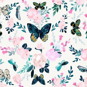 Butterfly Floral white