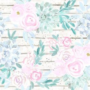 succulent floral stripe - white pastel