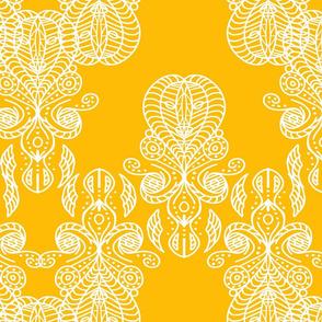 White lace on ochre yellow