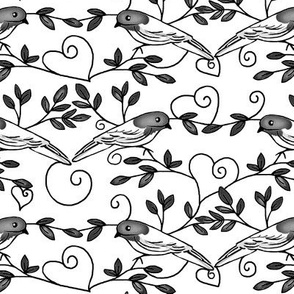 Painted Bunting Love / Black & White - heart scrolls & Branches