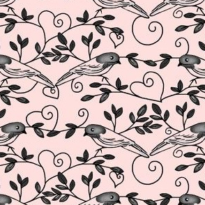 Painted Bunting Love /Pink & Black Toile