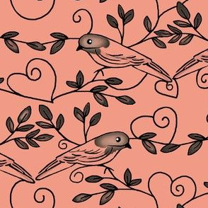 Painted Bunting Love / Coral Toile