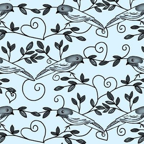 Painted Bunting Love / grey scale on blue background