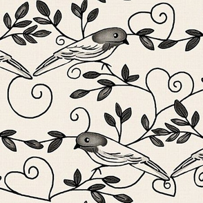 Painted Bunting Love / Natural linen & gray/ black