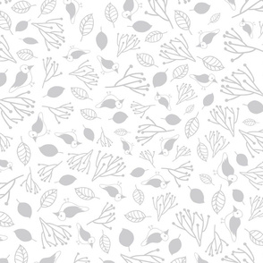 Monochrome birds and leaves pattern