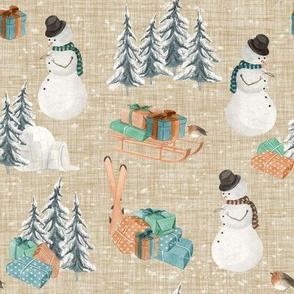 Woodland Winter Snowman // Beige Linen