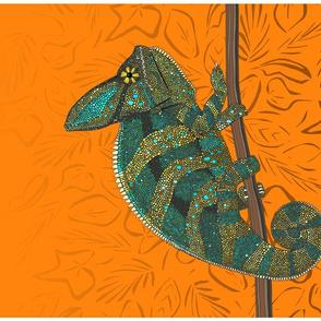 veiled chameleon turmeric tea towel
