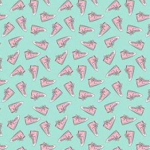 (micro scale) Retro Shoes - pink on aqua toss - Chucks C19BS