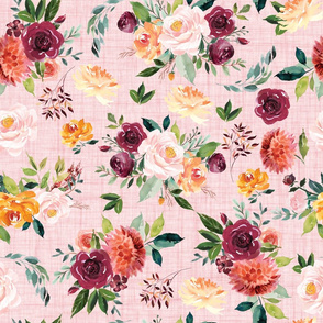 paprika floral on pink linen