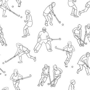 Small Scale Field Hockey on White
