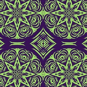 Tribal Star and Diamond Carvings on Blackberry with Pale Glassy Green