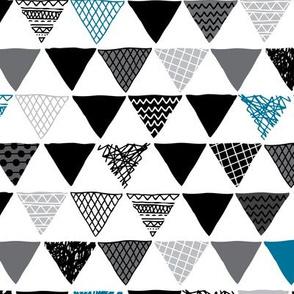 Geometric tribal aztec triangle denim blue modern patterns