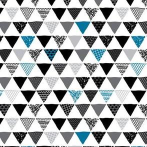 Geometric tribal aztec triangle denim blue modern patterns SMALL