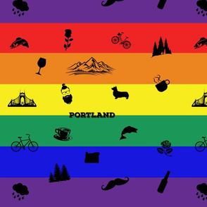 Portland Icons on a Rainbow