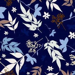 navy floral linen leaves