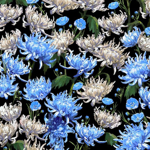 Mums   Blue + Cream on Black