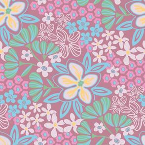 Dusky Pink Garden Floral Botanical White Pink Mauve Blue Green