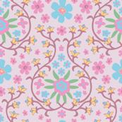 Dusky Pink Garden Floral Botanical Ogee Pink Mauve Purple  Blue