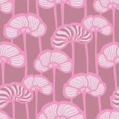 Dusky Pink Poppies Pink Mauve Stripes