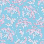 Dusky Pink Blue Garden Queen Anne's Lace Floral Blue Pink