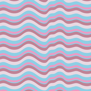 Wavy Stripes Abstract Blue Pink Mauve