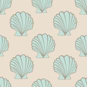 Coastal Scallop Seashells Light Green Beige
