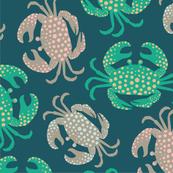 Coastal Crabs Turquoise Pink Beige