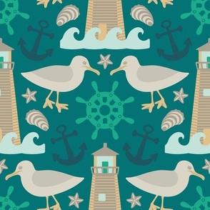 Coastal Nautical Lighthouse Seagull Anchor Shells