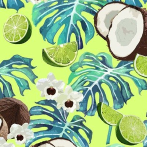Lime Coconut Orchids Turquoise