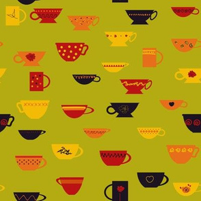 colorful teacups