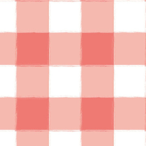 Large Coral Buffalo Check Gingham