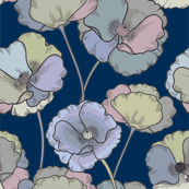 Moody Florals on Deep Blue