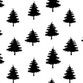 winter christmas trees  - medium scale black