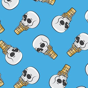 skull ice cream cones - toss on blue - LAD19