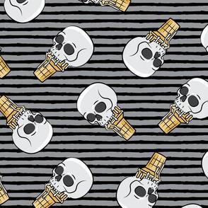 skull ice cream cones - toss on dark grey and black stripes - LAD19