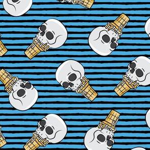 skull ice cream cones - toss on black and blue stripes  - LAD19