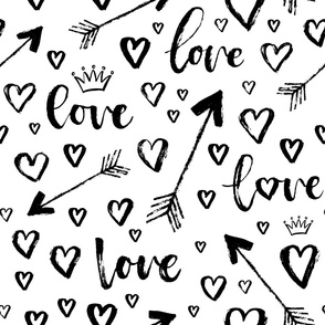 crown, arrows, hearts - large scale black and white
