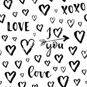 i love you, arrows, hearts - medium scale black and white