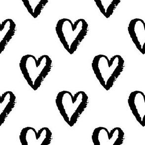 valentines hearts - medium scale black and white