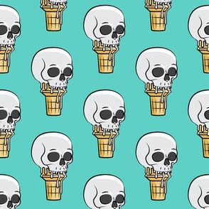 skull ice cream cones - teal - LAD19